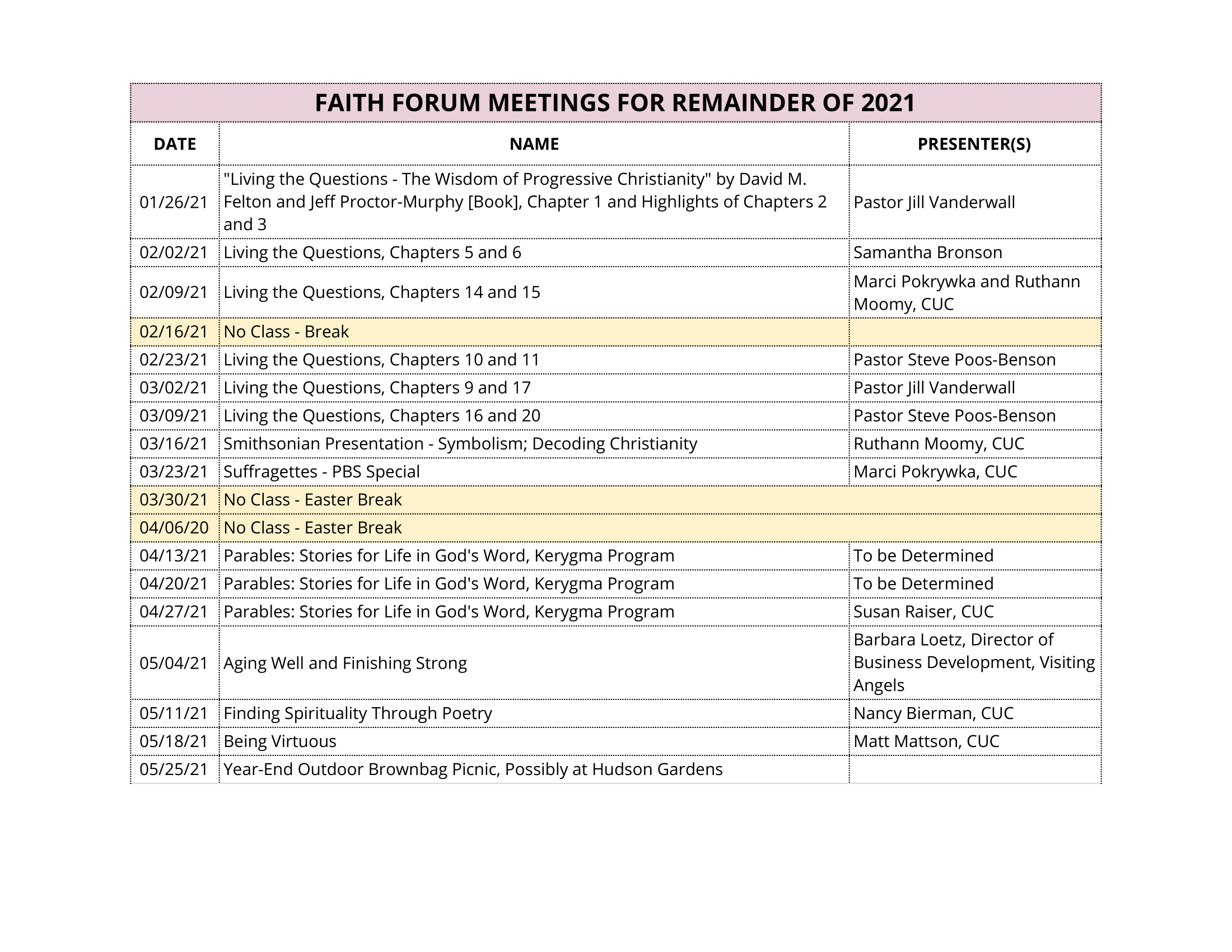 Faith Forum 2021 Calendar