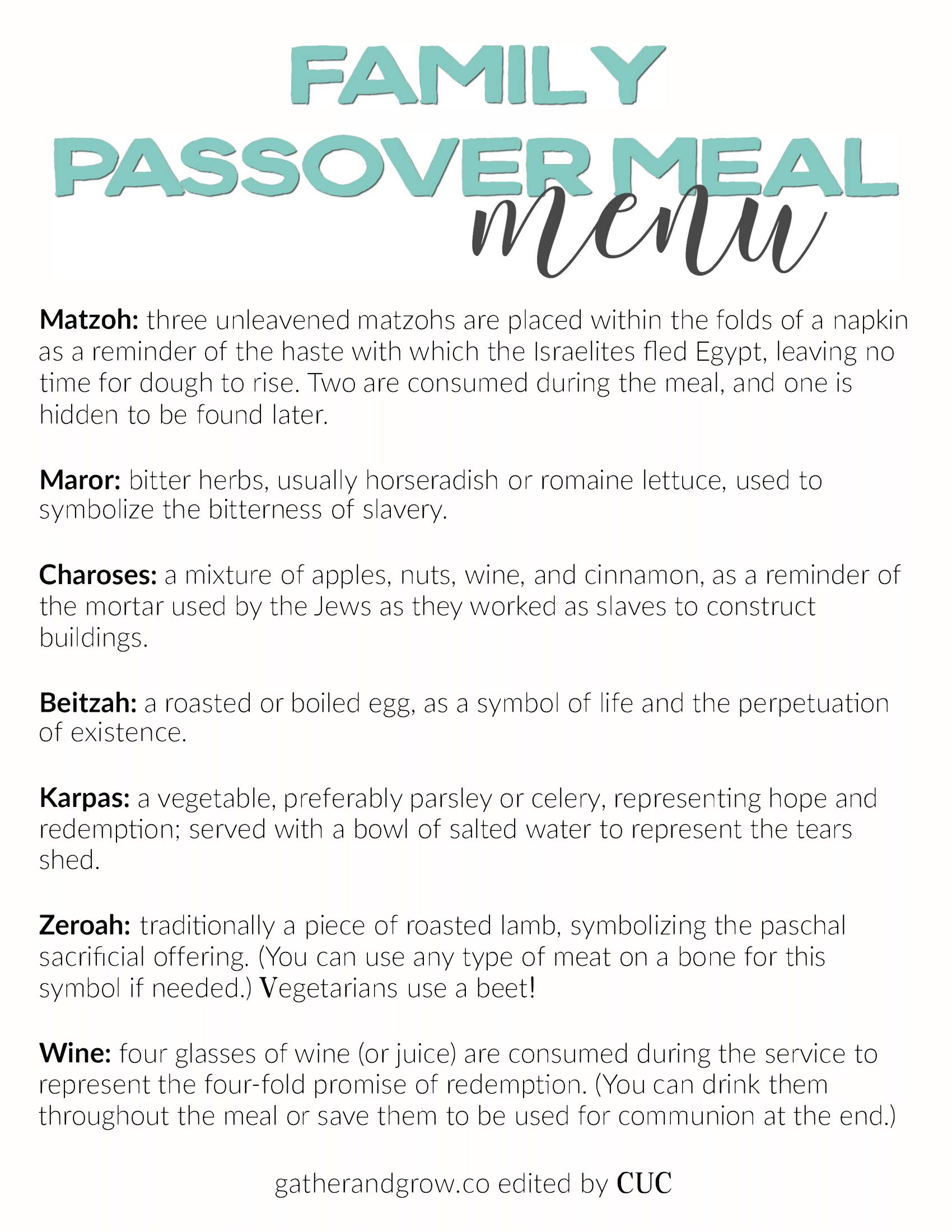 Make Your Own Seder Meal!